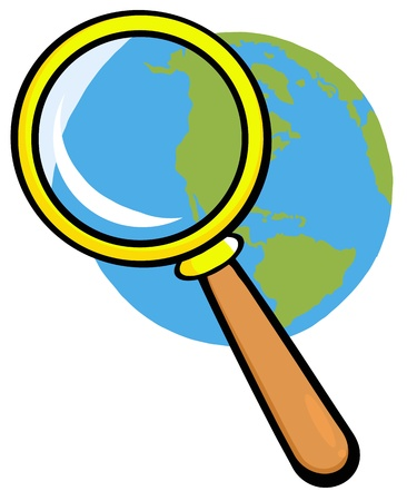Earth Under Magnifying Glass Stock Vector - 12493503