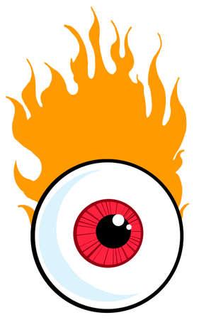 fire ball: Red Eyeball In Flames Illustration