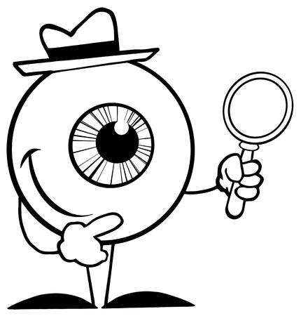 pelota caricatura: El detective se indica globo ocular con un vaso de aumento
