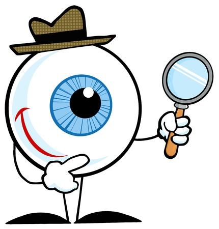 Detective sonriente globo ocular con un vaso de aumento Ilustración de vector