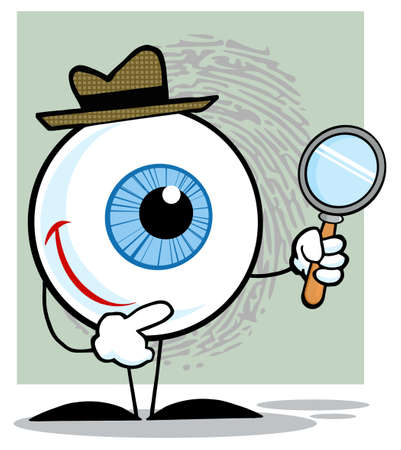 Detective Eyeball Holding A Magnifying Glass Vector