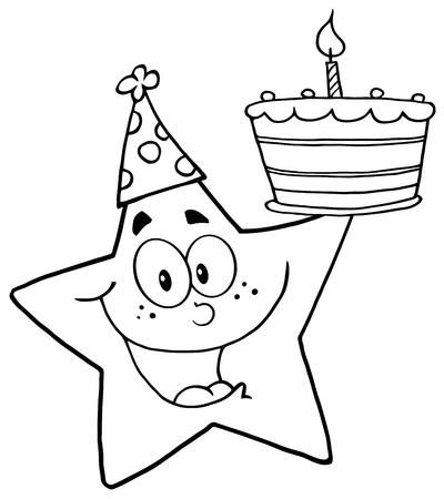 star mascot: Outline Happy Star Holding A Birthday Cake