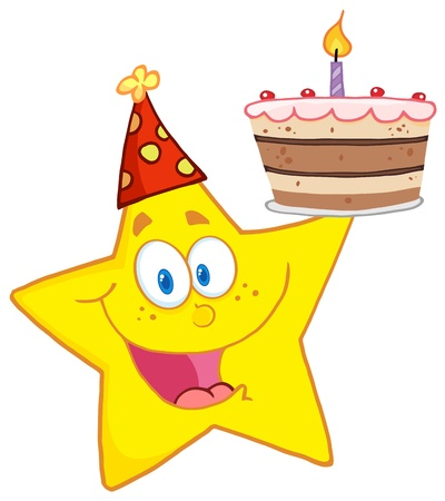 Happy Star Holding A Birthday Cake Vector