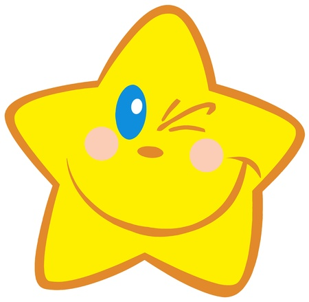 Happy Little Star Winking Vector