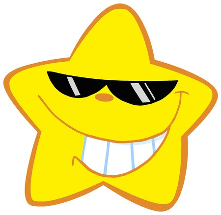 Happy Little Star With Sunglasses Vector