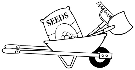 black and white image: Outline Barrow With Seeds, A Rake And Shovel Illustration