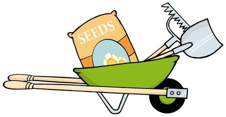 種子、熊手とシャベルと手押し車  イラスト・ベクター素材