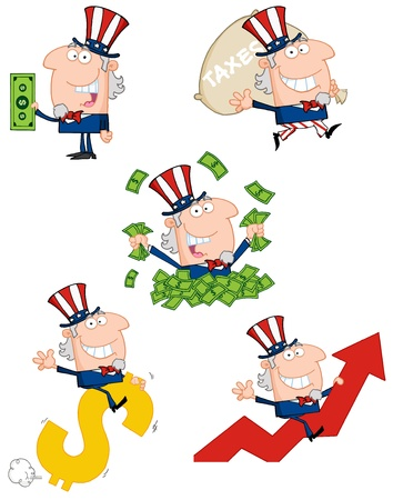 us dollar bill: Uncle Sam Cartoon Style