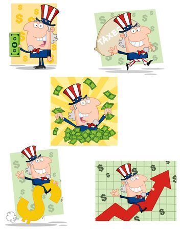 Uncle Sam Cartoon Characters Vector