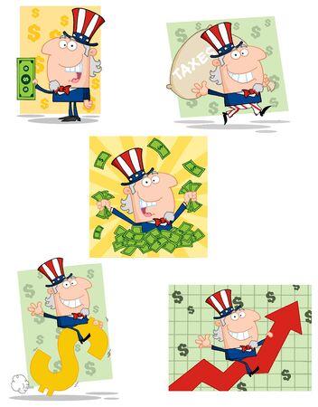 Uncle Sam Cartoon Characters Illustration