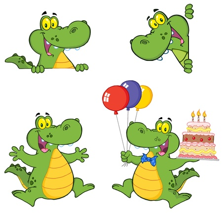 Crocodile Cartoon Characters Ilustrace