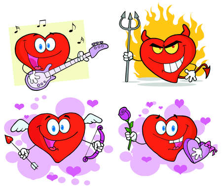 devil and angel: Heart Cartoon Characters Illustration