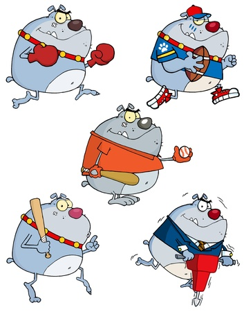 Grey Bulldog Cartoon Characters Vector