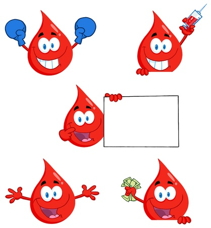 transfusion: Blood Drops Characters Illustration