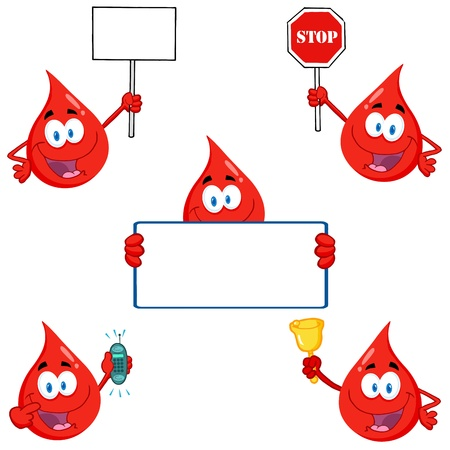 blood bank: Blood Drops Cartoon Characters Illustration