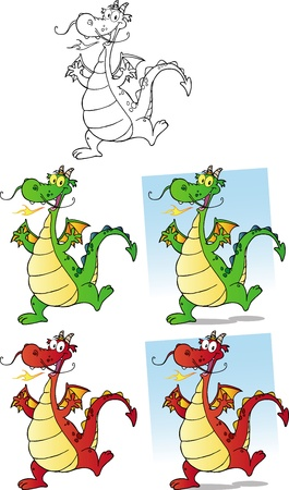 Happy Dragons Cartoon Characters Vector