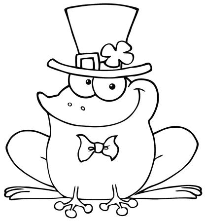 Outlined Happy Leprechaun Frog Vector