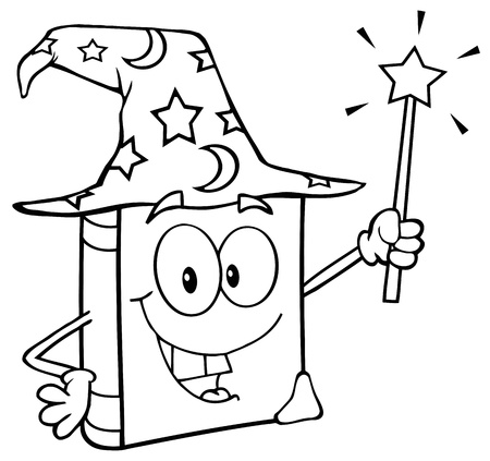 Outlined Wizard Book Cartoon Character Holding A Magic Wand Vector