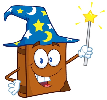 sombrero de mago: Libro feliz Asistente de dibujos animados sostiene una varita m�gica Vectores