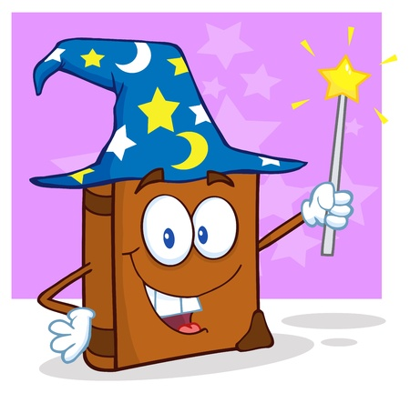 Wizard Book Cartoon Character Holding A Magic Wand Vector