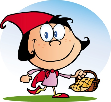 cartoon little red riding hood: Happy Little Red Riding Hood Illustration