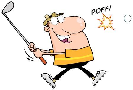 golpeando: Mujer Golfista Golpear una pelota de golf Vectores