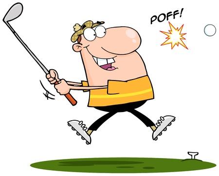 Happy Golfer Hitting Golf Ball