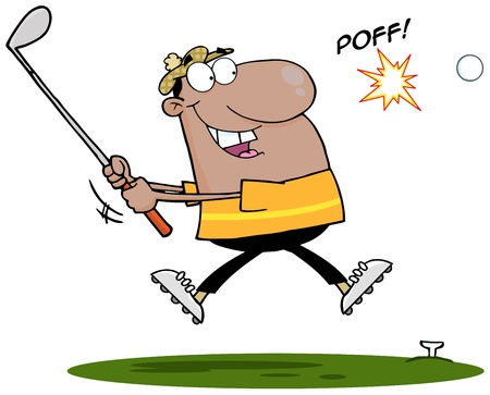Happy African American Golfer Hitting Golf Ball Vector