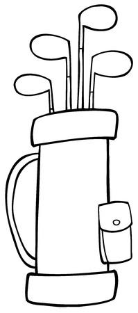 Outlined Golf Bag Vector