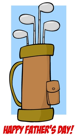 Father s Day Greeting With Golf Bag Vector