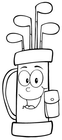 Outlined Golf Bag Cartoon Character Vector