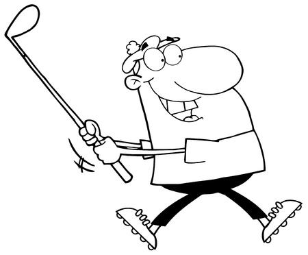 Outlined Happy Golfer Running Vector