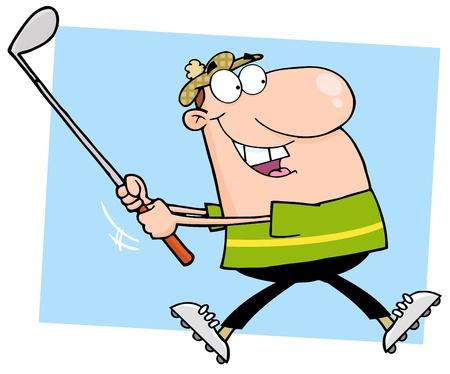 Happy Male Golfer Running Stock Vector - 12775315