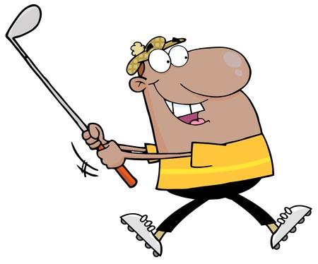 African American Golfer Running Stock Vector - 12775312