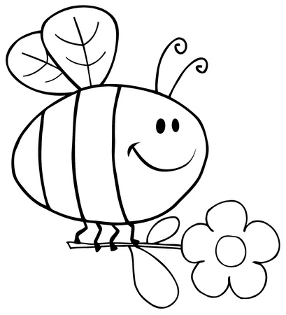 Outlined Happy Bee Flying With Flower In Sky