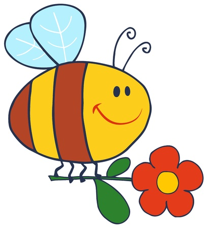honeybee: Happy Bee Flying With Flower In Sky