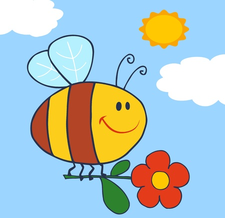 bee on flower: Happy Bee Flying With Flower In Sky