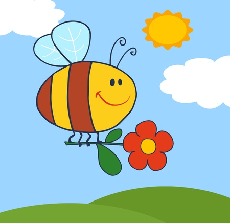 Happy Bee Flying With Flower In Sky Vector