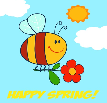 Happy Spring Greeting Vector