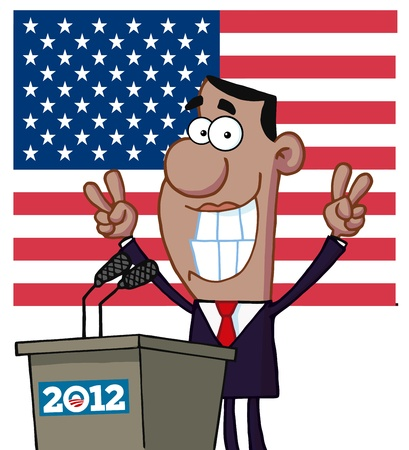 barrack: Barack Obama Flashes Victory Signs From Podium 2012 Illustration