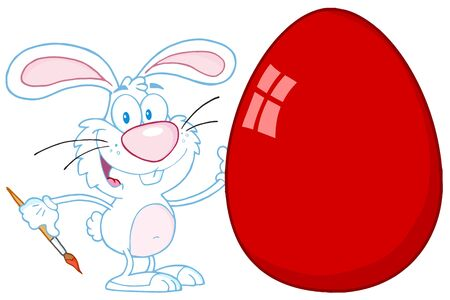 Happy Rabbit Painting Red Easter Egg Vector