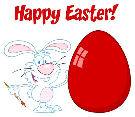 Happy Easter Text Above A Rabbit Painting Easter Egg Vettoriali