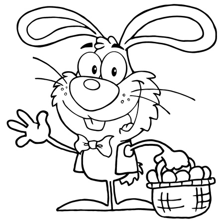 coloring easter egg: Outlined Waving Bunny With Easter Eggs And Basket