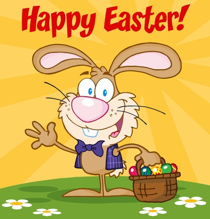 Happy Easter Text Above A Waving Bunny With Easter Eggs And Basket Vector