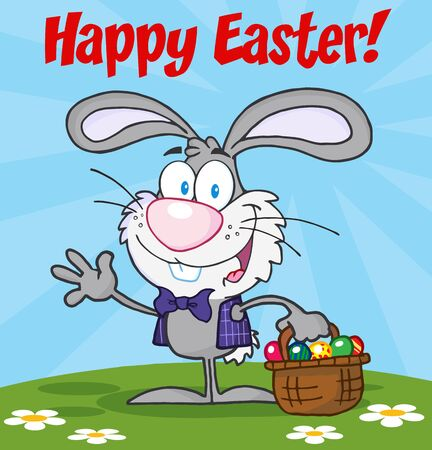 Happy Easter Text Above A Waving Gray Bunny With Easter Eggs And Basket Vector