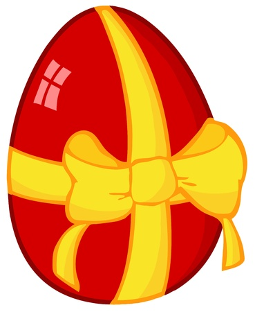 april clipart: Red Easter Egg With Ribbon Illustration