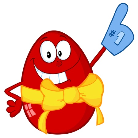 egg cartoon: Happy Red Easter Egg Wearing A Number One Glove Illustration