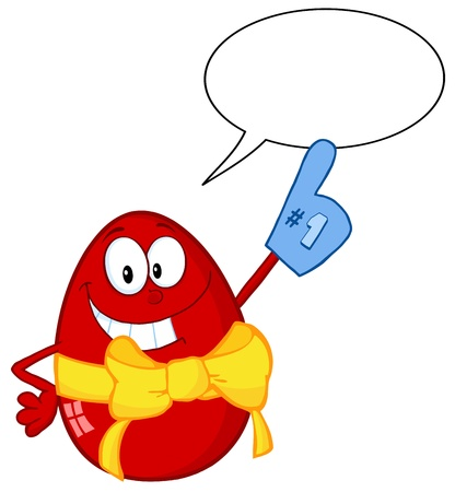 spech bubble: Happy Red Easter Egg Wearing A Number One Glove With Speech Bubble Illustration