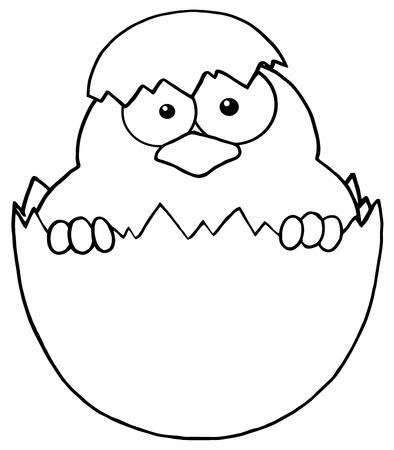 uovo rotto: Sorpresa Chick Delineato Peeking Out Of un guscio d'uovo Vettoriali