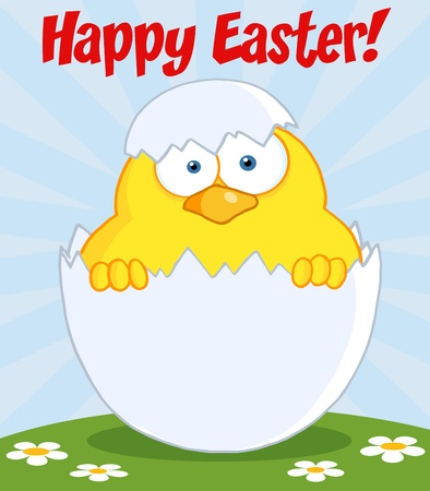 Happy Easter Text Above A Surprise Yellow Chick Peeking Out Of An Egg Shell Vector